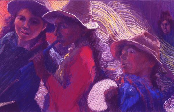 Peru Art Print featuring the painting Peruvian Musicians by Ellen Dreibelbis