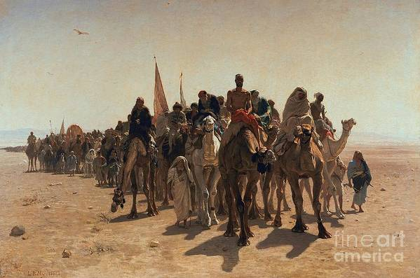 Pilgrims Art Print featuring the painting Pilgrims Going To Mecca by Leon Auguste Adolphe Belly