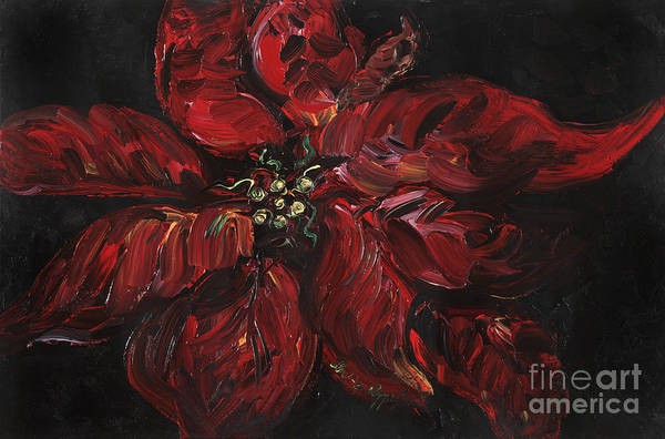 Abstract Art Print featuring the painting Poinsettia by Nadine Rippelmeyer