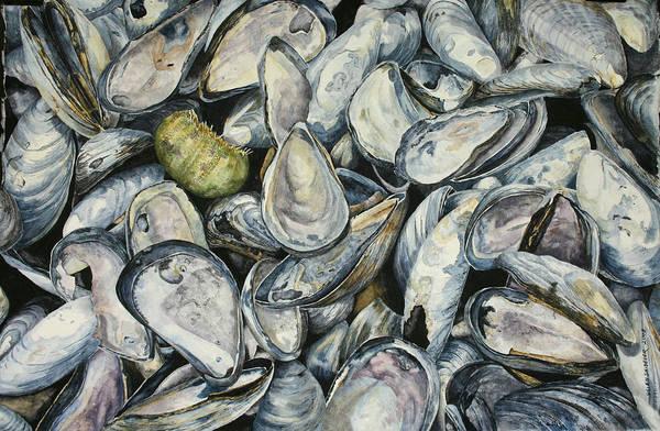 Mussel Shells Art Print featuring the painting Point Pleasant Buffet Garden by Helen Shideler