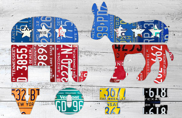 Political Art Print featuring the mixed media Political Party Election Vote Republican Vs Democrat Recycled Vintage Patriotic License Plate Art by Design Turnpike