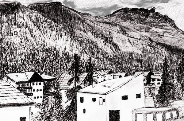 Switzerland Art Print featuring the drawing Pontresina Black And White by Monica Engeler