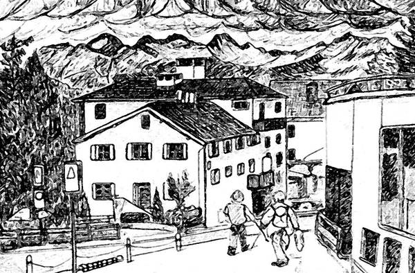 Switzerland Art Print featuring the drawing Pontresina Switzerland by Monica Engeler