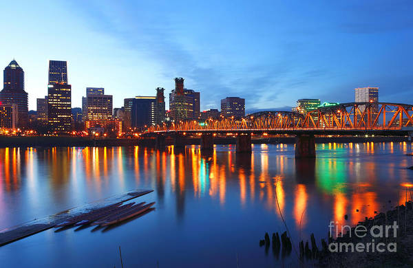 Blue Print featuring the photograph Portland Oregon At Dusk. by Gino Rigucci