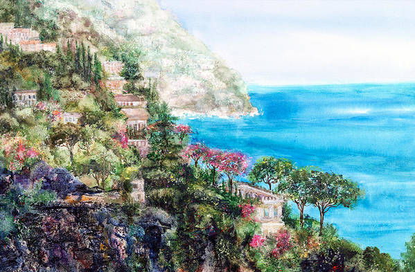 Landscape Art Print featuring the painting Positano by Barbara Colangelo