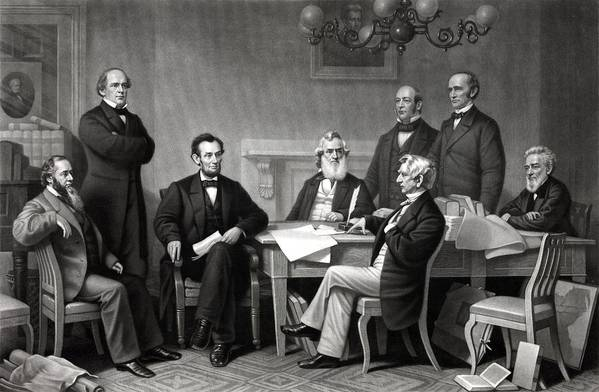 Abraham Lincoln Art Print featuring the drawing President Lincoln And His Cabinet by War Is Hell Store