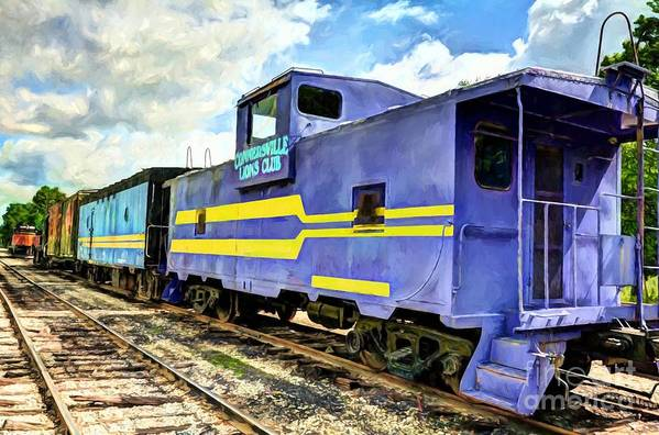 Purple Caboose Art Print featuring the photograph Purple Caboose by Mel Steinhauer