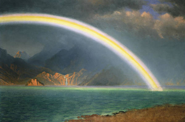 19th Century; Albert Bierstadt; American Artist; American Painting; Bright; Cloudy; Daytime; Dream; Dream Like; Dreaming; Dreamscape; Enchanted; Enchanting; Enchantment; Fairy Tale; Fairyland; Fanciful; Fantasy; Fantasy & Fiction; Fantastical; Hope; Hopeful; Hudson River School; Jenny Lake; Lake; Late 19th Century; Literature; Magical; Meteorology; Natural Space; North America; Oil On Canvas; Oil Painting; Outdoors; Rainbow; Romantic Art; Romantic Era; Romanticism; Sky; Spellbound Art Print featuring the painting Rainbow Over Jenny Lake Wyoming by Albert Bierstadt