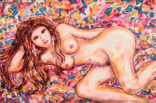 Nudes Art Print featuring the painting Reclining Nude by Leonard Holland