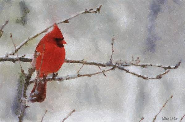 Bird Art Print featuring the painting Red Bird Of Winter by Jeff Kolker
