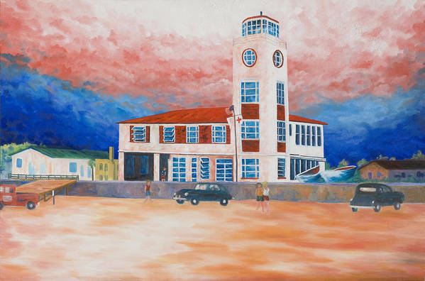Historic Buildings Art Print featuring the painting Red Cross Lifeguard Station by Blaine Filthaut
