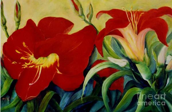 Flowers Red Lilies In Garden Art Print featuring the painting Red Lily by Marta Styk