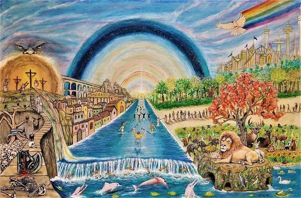 Christian Art Print featuring the mixed media River Of Life by Neal David Reilly