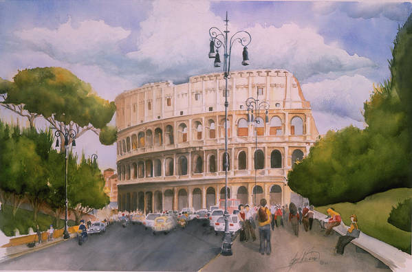 Italy Art Print featuring the painting Roman Holiday- Colosseum by Leah Wiedemer