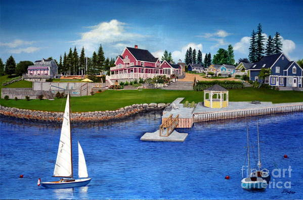 Landscape Art Print featuring the painting Rosewood Cottages Nova Scotia by Donald Hofer