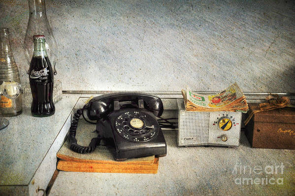 Telephone Art Print featuring the photograph Rotary Dial Phone In Black S And H Stamps by Paul Ward