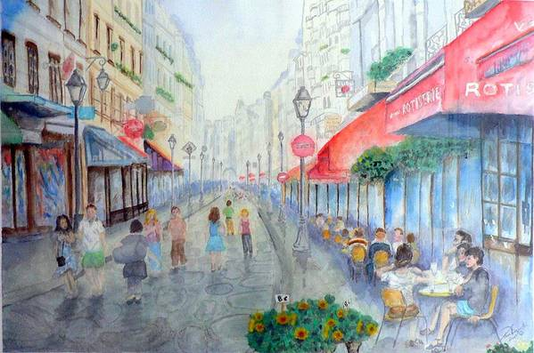 Late Afternoon Streetscape Art Print featuring the painting Rue Montorgueil Paris Right Bank by Dan Bozich