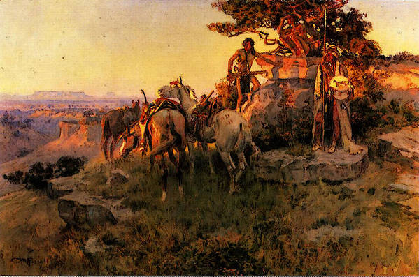 Russell Art Print featuring the digital art Russell Charles Marion Watching For Wagons by PixBreak Art