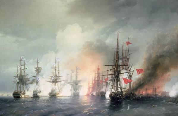 Russian-turkish Art Print featuring the painting Russian Turkish Sea Battle Of Sinop by Ivan Konstantinovich Aivazovsky