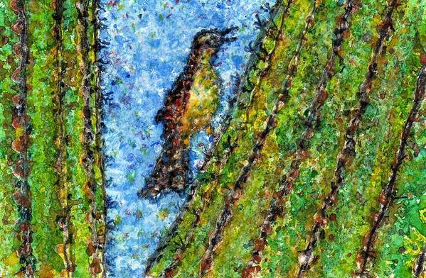 Watercolor Art Print featuring the painting Saguaro Cactus With Woodpecker by Cynthia Ann Swan