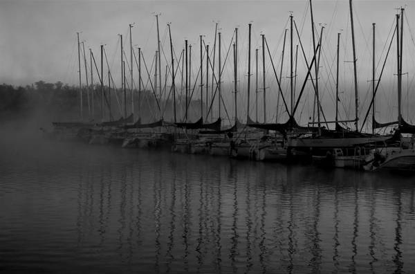 Sailboat Harbor Fog Black And White Art Print featuring the photograph Sailboats In Harbor 2 by Kevin Mitts