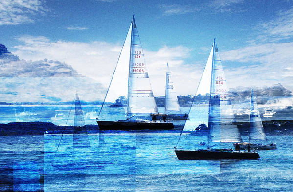 Boats Art Print featuring the photograph Sailboats by MW Robbins
