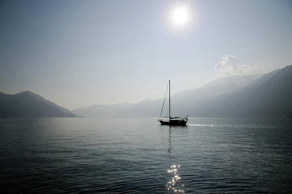 Horizontal Art Print featuring the photograph Sailing Boat In Alpine Lake by Mats Silvan