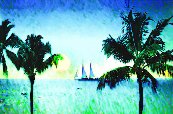 Sailing The Keys Art Print featuring the photograph Sailing The Keys by Bill Cannon