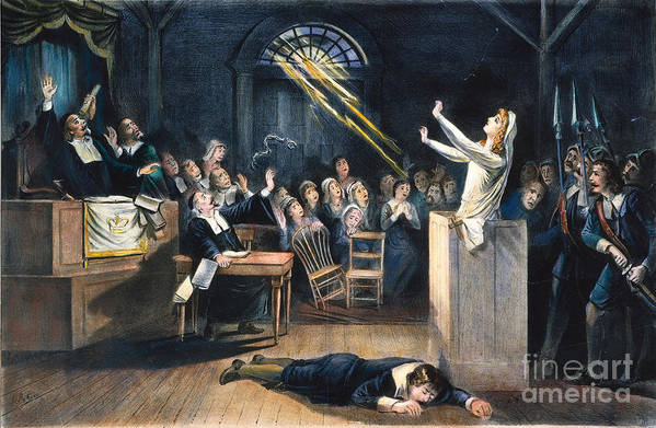 1692 Print featuring the photograph Salem Witch Trial, 1692 by Granger