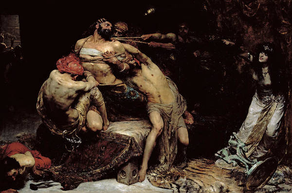 Bound; Philistines; Philistine; Delilah; Rope; Cutting Hair; Strength; Struggle; Dramatic; Dalila; Samson Art Print featuring the painting Samson by Solomon Joseph Solomon