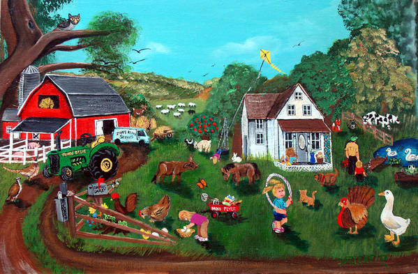 Farm Art Print featuring the painting Samuels Alaphabet Farm by Darlene Green