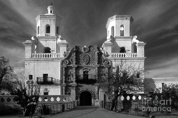 B&w Art Print featuring the photograph San Xavier Del Bac Mission by Sandra Bronstein
