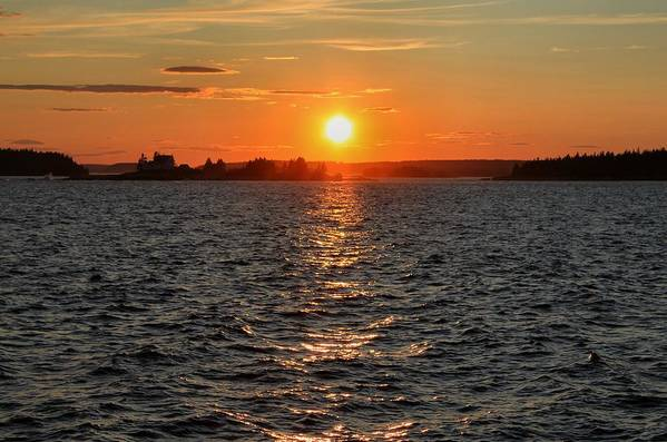 Maine Art Print featuring the photograph Schoodic Sunset With Island Lighthouse by Scott Bricker