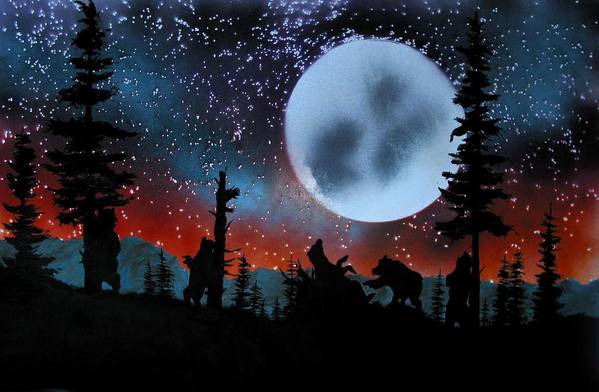 Bears Yellowstone Scratching Trees Moon Evening Landscape Art Print featuring the painting Scratching The Itch by Ed Moore