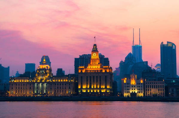 Center Art Print featuring the photograph Shanghai Sunset by Andre Distel