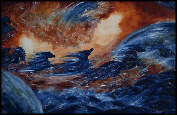 Famous Popular Horses Art Print featuring the painting sky herd III by Jennifer White