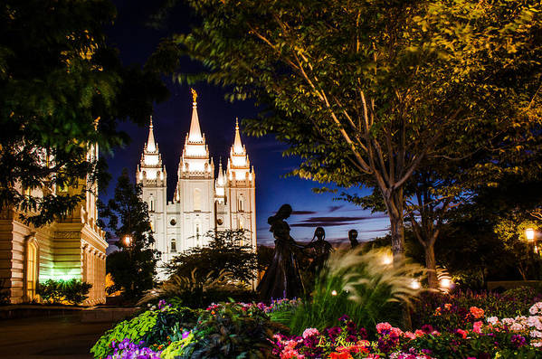 Mormon Temple Photography Art Print featuring the photograph Slc Mother And Children by La Rae Roberts