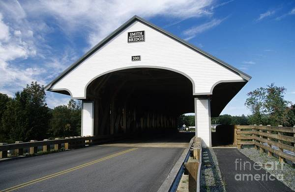 Bridge Art Print featuring the photograph Smith Covered Bridge - Plymouth New Hampshire Usa by Erin Paul Donovan