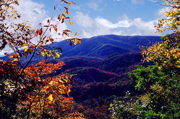Mountain Art Print featuring the photograph Smoky Mountain Autumn View by Nancy Mueller
