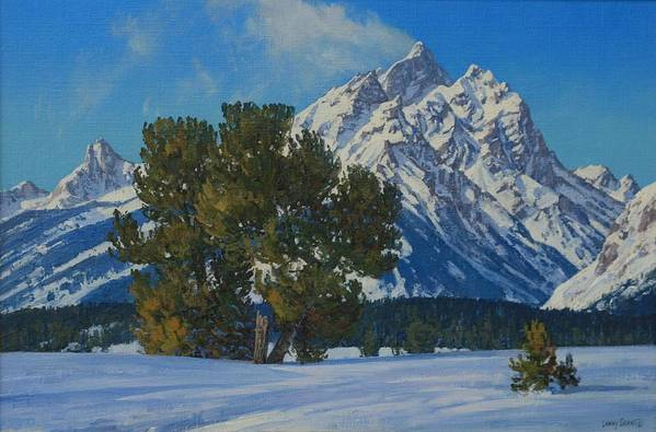 Art Print featuring the painting Snow Plume-cathedral Group by Lanny Grant