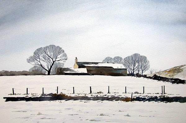 Winter Scene Art Print featuring the painting Snow Scene Barkisland by Paul Dene Marlor