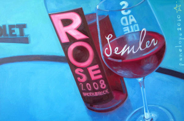 Wine Painting Art Print featuring the painting So Malibu by Penelope Moore