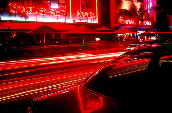 Neon Art Print featuring the photograph South Beach Red by Brad Rickerby