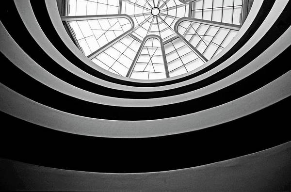 America Art Print featuring the photograph Spiral Staircase And Ceiling Inside The Guggenheim by Sami Sarkis