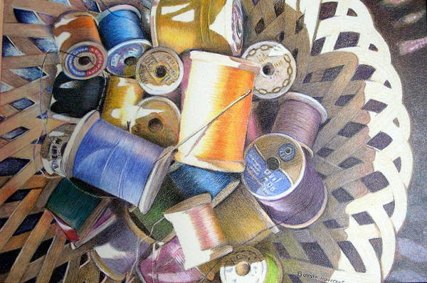 Still Life Art Print featuring the painting Spools by Bonnie Haversat
