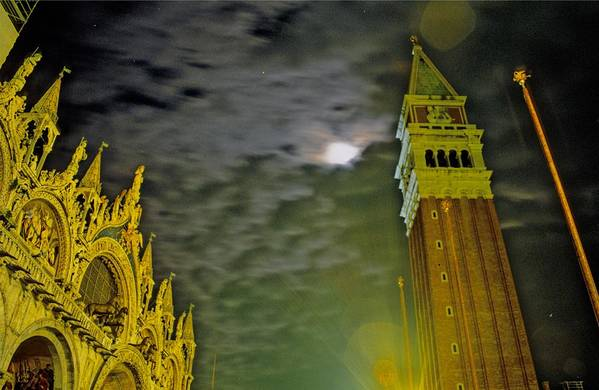 Venice Art Print featuring the photograph St. Marks In Venice With Moon And Venus by Michael Henderson