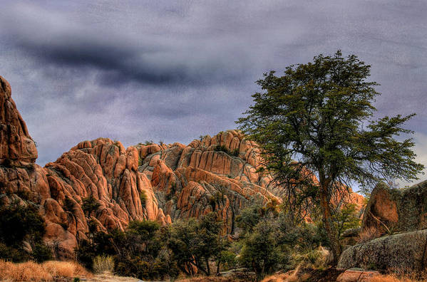 Storm Art Print featuring the photograph Storm Over The Granite Dells by Wayne King