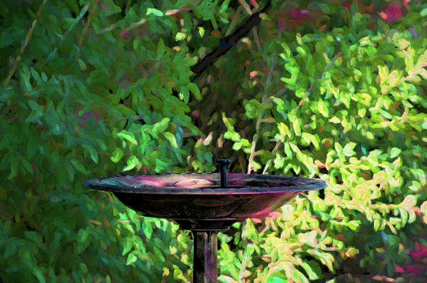 Fountain Art Print featuring the digital art Summer Fountain Impasto by Aliceann Carlton