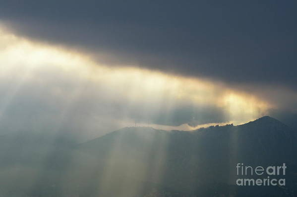 Spirituality Art Print featuring the photograph Sunbeams Through Clouds On Mountain Range By Stormy Day by Sami Sarkis