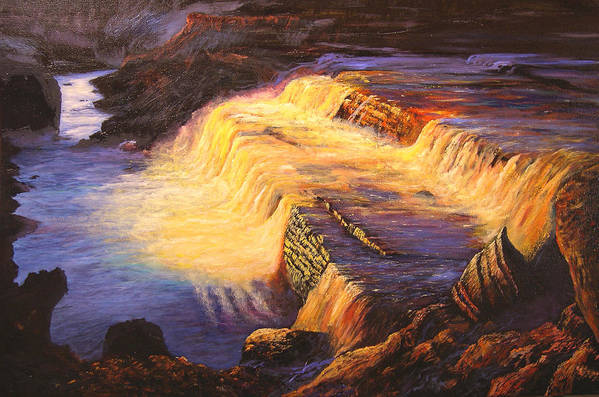 Connie Tom Art Print featuring the painting Sunset At Grand Falls by Connie Tom